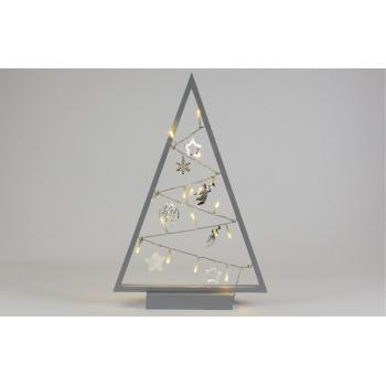 Vánoční dekorace na parapet / skříňku, 15 svítících LED diod, na baterie, šedá, 40 cm