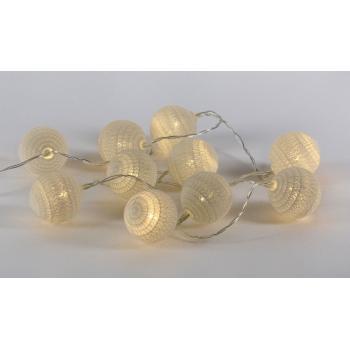 """Dekorativní svítící řetěz - """"háčkované"""" koule, vnitřní, na baterie, 10 LED, 0,9 m"""