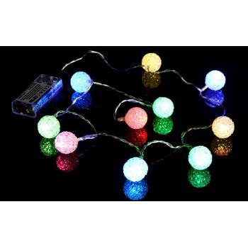 Ozdobný světelný řetěz vnitřní (do interiéru), na baterie, barevný, 10 LED, 0,9 m