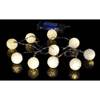 Ozdobný světelný řetěz vnitřní (do interiéru), na baterie, teple bílý, 10 LED, 0,9 m