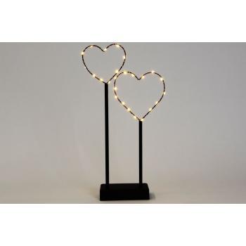Dekorativní interiérové osvětlení - 2 kovová srdce, černá, 25 LED diod, na baterie, 36 cm