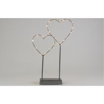 Dekorativní osvětlení do interiéru - 2 kovová srdce, šedá, na baterie, 25 LED diod, 36 cm