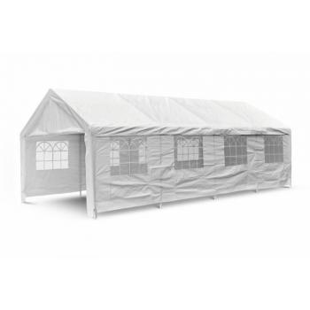 Masivní zahradní párty stan 4x8 ms ocelovým rámem, klasická konstrukce, s okny, bílý