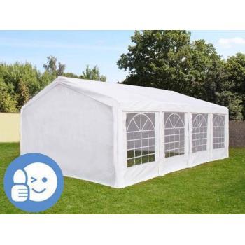Párty stan / altán 4x8 m, ocelová konstrukce / polyethylen, s okny, bílý