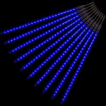 Vánoční světelný řetěz z LED tyčí- efekt padající sníh, modrý, 240 LED, 10 tyčí