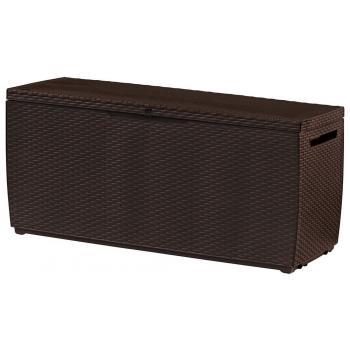 Venkovní plastový box na polstry, možnost sezení, umělý ratan, hnědý, 305 L