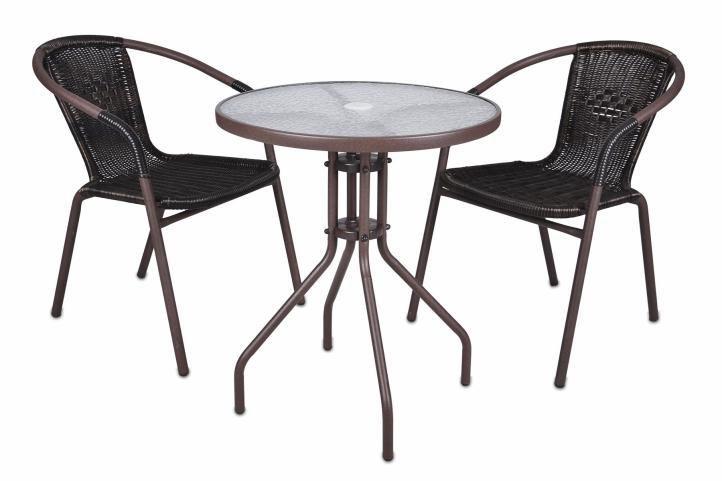 Set balkonového nábytku- kulatý stůl + 2 židle s ratanovým výpletem