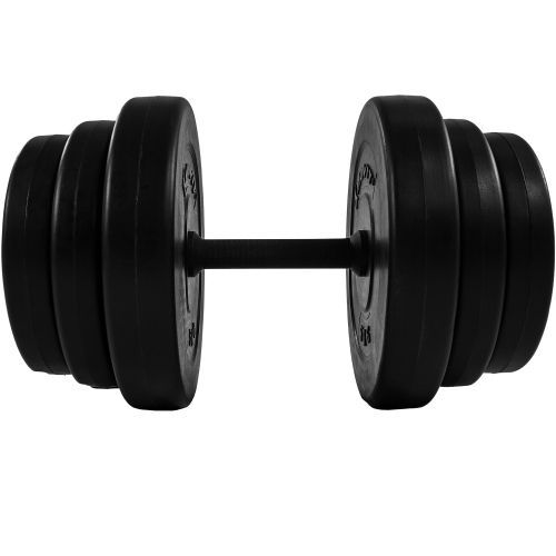 Nakládací jednoruční činky vč. závaží, černé, 40 kg