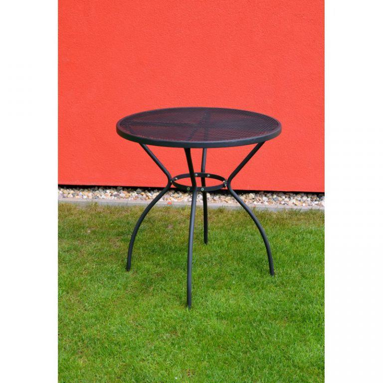 Kovový zahradní stůl kulatý, vrchní deska z tahokovu, černý