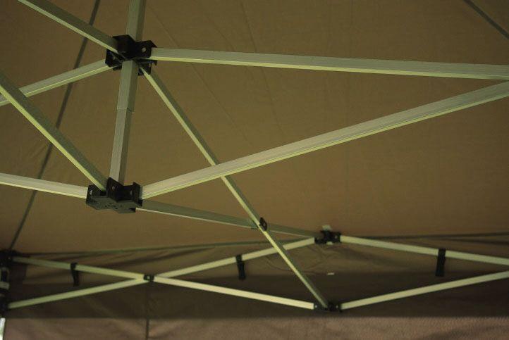 Nůžkový párty stan s kovovou konstrukcí 3x6 m, boční stěny, béžový