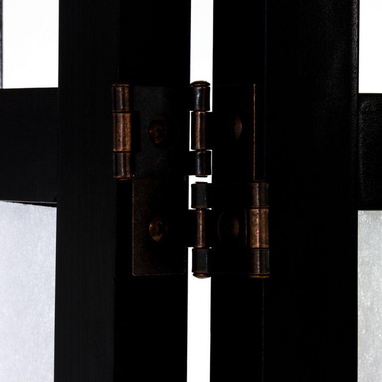 Paraván - zástěna do bytu 180 x 156 cm, lípa + netkaná textilie, černý