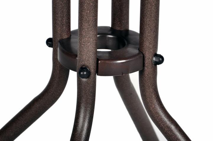Kulatý balkonový stolek, ocelový rám + skleněná deska