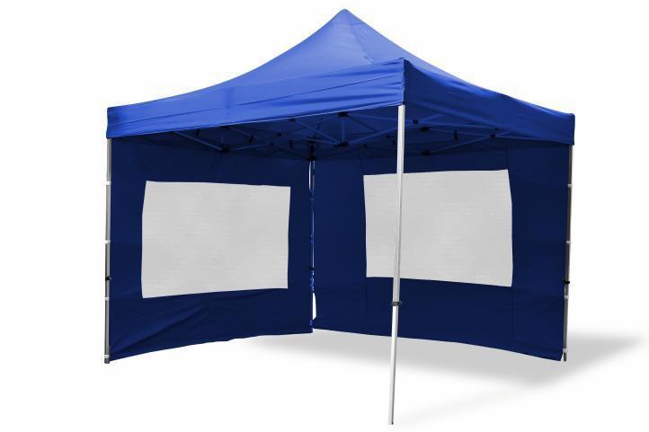 Nůžkový párty stan s kovovou konstrukcí Profi, 2 boční stěny s okny, modrý, Garthen GS7370