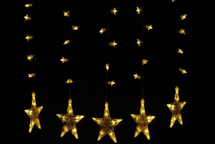 Vánoční světelná výzdoba do oken - hvězdy se svítícími LED diodami