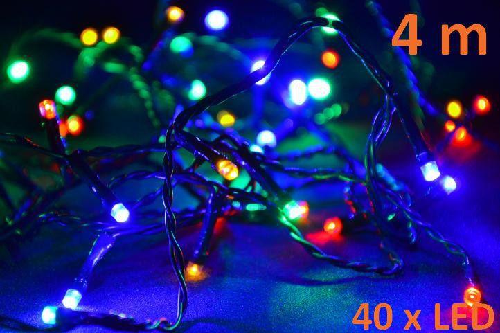LED řetěz na vánoční stromek barevný, 40 LED diod, 4 m