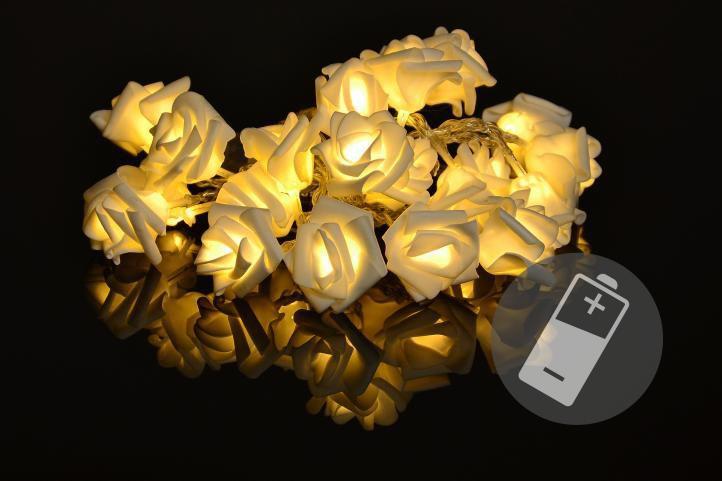 Světelný LED řetěz s květy růží na baterie, 20 LED diod