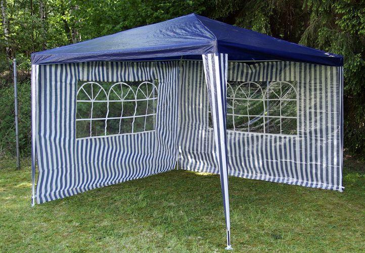 Levný párty stan 3x3 m, 2 boční stěny s okny, modrá / bílá