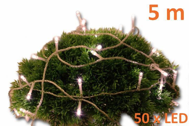 Vánoční LED řetěz s časovačem venkovní / vnitřní, 5 m, na baterie