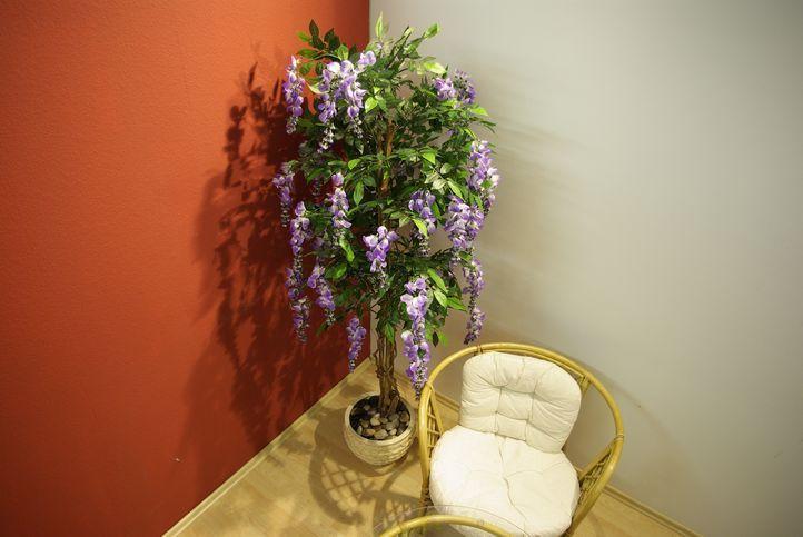 Umělá květina - vistárie jako živá, fialové květy, 180 cm