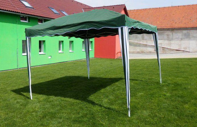 Levný zahradní altán s nůžkovou konstrukcí 3x3 m, zelená / bílá