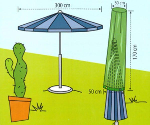 Vodotěsný obal na zahradní slunečníky do 3 m, zelený