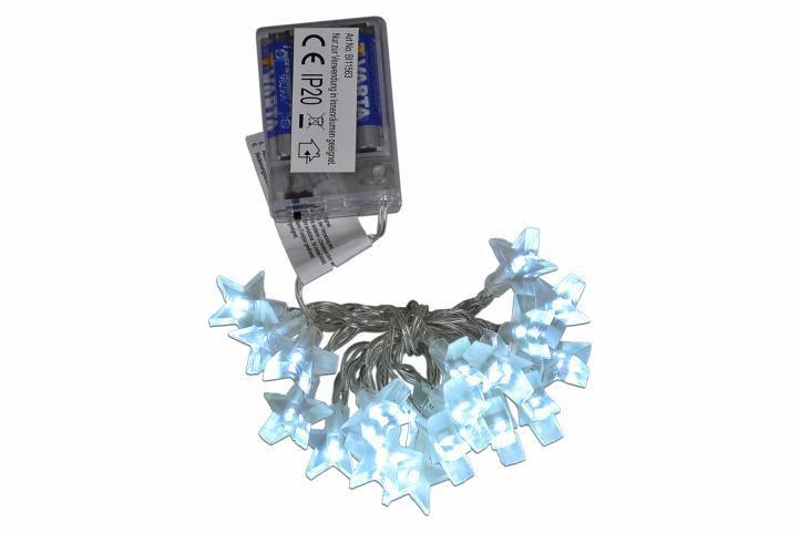 Vánoční řetěz se svítícími hvězdami na baterie, interiérový, 1,8 m