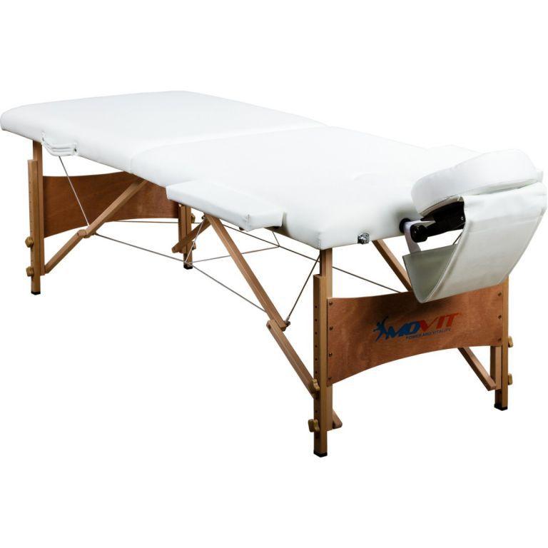 Skládací masážní lehátko s opěrkou hlavy a otvorem pro obličej, bílé