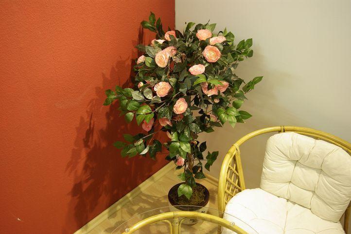 Umělá květina - kamélie jako živá s růžovými květy, 140 cm