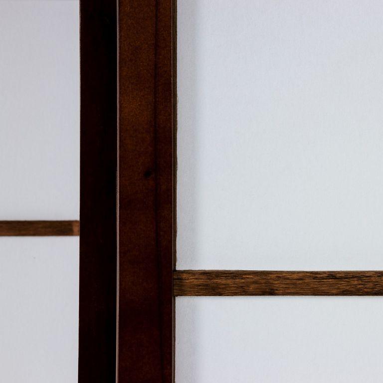 Paraván - zástěna do bytu, dřevo + netkaná textilie, tmavě hnědý
