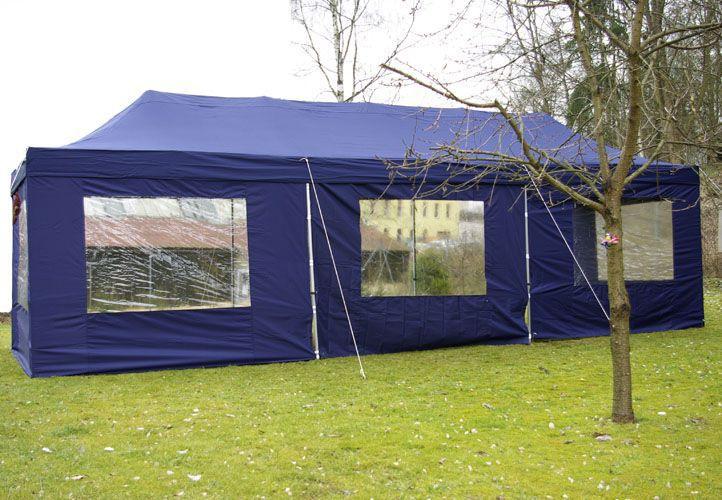 Nůžkový zahradní stan 3x9 m vč. bočních stěn, modrý
