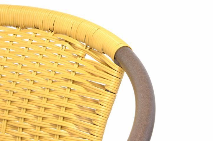 Bistro židle s ocelovým rámem a ratanovým výpletem, stohovatelná