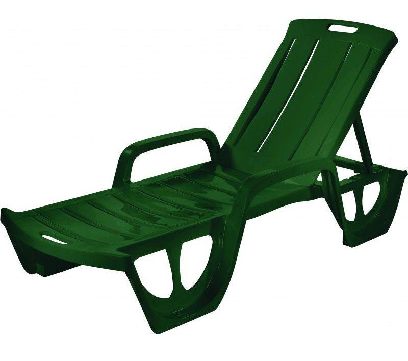 Zahradní relaxační plastové lehátko se sklopným opěradlem, zelené
