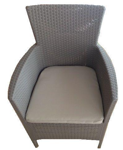 Luxusní křeslo z umělého ratanu s nízkým opěradlem, cappucino