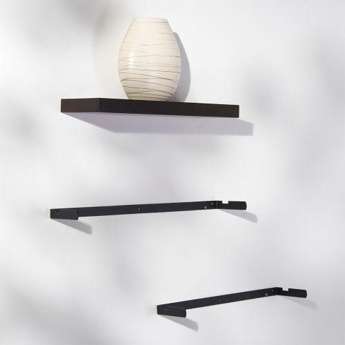 3 ks moderní nástěnná police, imitace dřeva, hnědočerná