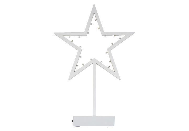 Vánoční světelná dekorace na okno / stolek, hvězda na stojánku 38,5 cm