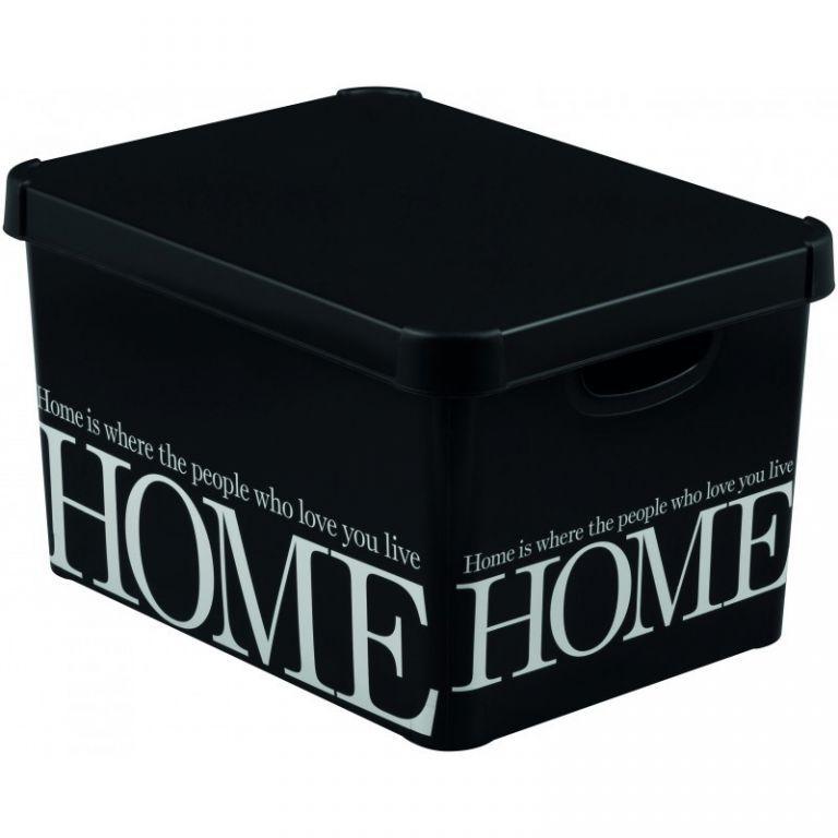 Úložný box s víkem velký, stohovatelný, černá / bílý nápis