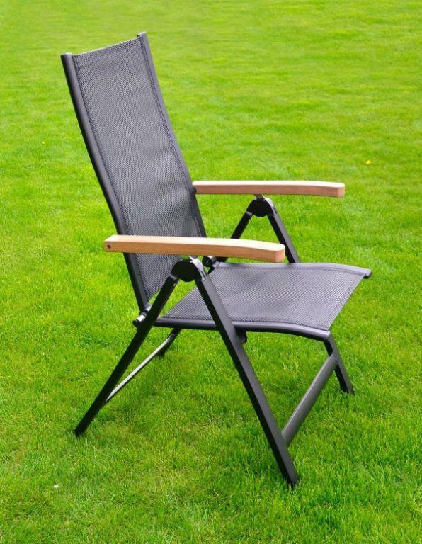 Zahradní polohovací křeslo, prodyšný sedák a opěradlo, černé
