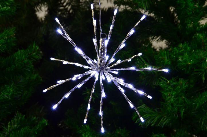 Svítící vánoční hvězda venkovní / vnitřní k zavěšení, 80 LED diod, 40 cm