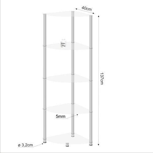 Designový regál do obýváku se skleněnými policemi, rohový, 137 cm