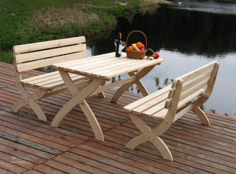 Dřevěná zahradní lavice z masivu- přírodní borovice, 150 cm