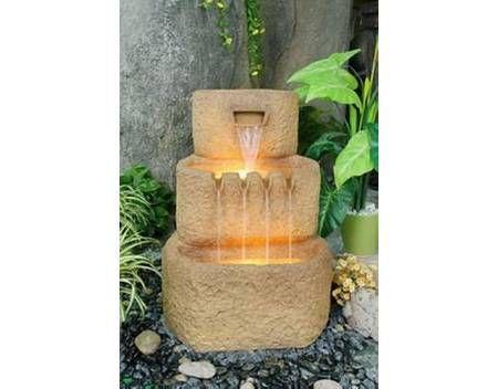 Zahradní kašna s tekoucí vodou vč. osvětlení, 3 nádoby