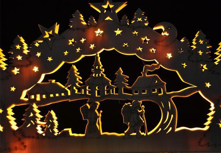 Vánoční výzdoba do bytu - osvětlená krajina, na baterie