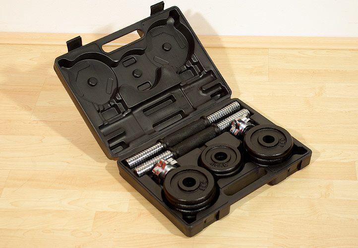 Sada jednoručních litinových činek v kufříku , 2x7,5 kg