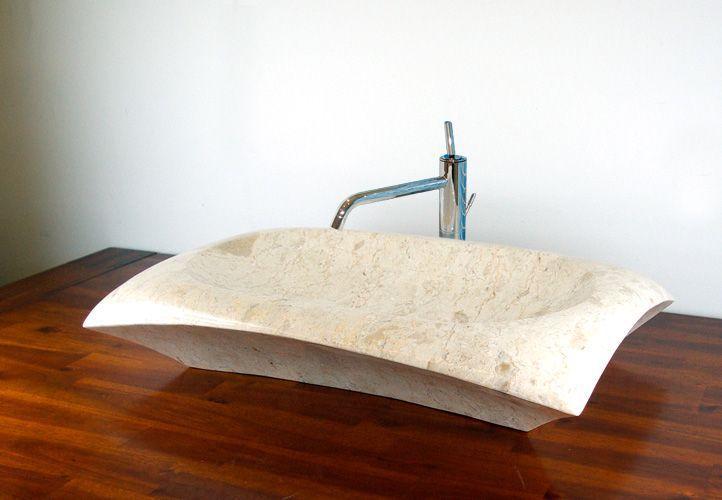 Designové obdélníkové umyvadlo na desku, přírodní mramor