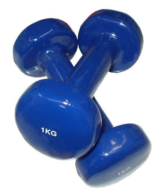 Jednoruční plastové činky na aerobik a kondiční cvičení 2x1 kg, modré