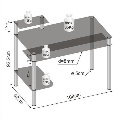 Designový kancelářský stůl se skleněnými deskami (černé sklo)