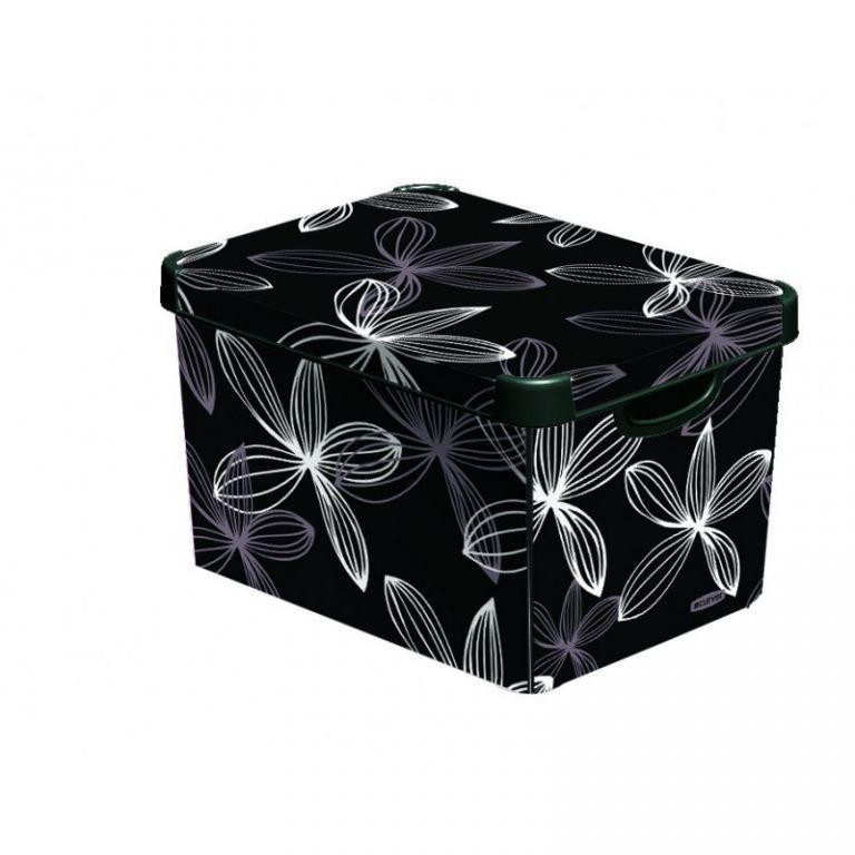 Elegantní plastový úložný box s víkem velký, černá s potiskem