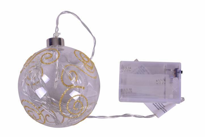 Svítící vánoční baňka na stromeček, na baterie, průměr 10 cm