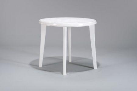 Zahradní plastový stůl kulatý, odpojitelné nohy, 90 cm, bílý