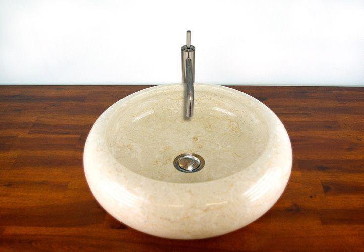 Designové kulaté kamenné umyvadlo na desku, světlý mramor